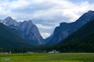Tal zwischen Cima Nove 2618m und Campo Rosso 2552m – von diesem Tal sind wir gestern hier angekommen.