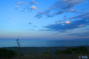 Panorama with the Moon at the Beach of Trebisacce