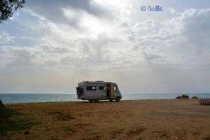 Parking at the Beach of Eraclea Minoa AG, Italien