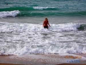 ...ich im Kampf mit der Strömung und den Wellen :o
