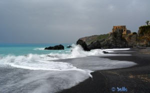 Praia a Mare with black Rocks and Sand