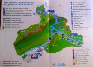 Area of Cascata delle Marmore Umbria Italy