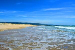 Wunderbarer Strand in Barbate – hier gerade bei Flut. Am Ende dieses Strandes mündet der Rio Barbate ins Meer.