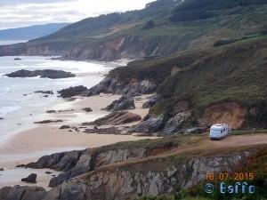 Parking at Praia de Rias - Bicerran, 15111 Malpica de Bergantiños, La Coruña, Spanien – July 2015