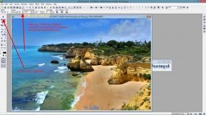 """Bild in Originalgrösse öffnen – Selection-Tool aktivieren und Haken bei """"Fixe Grösse"""" aktivieren – die Grösse angeben (bei mir 870x220 Pixel)."""