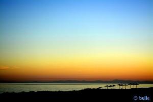 Abendrot (-gelb) am Aldea Beach