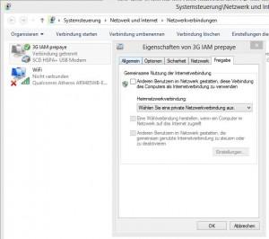 """Eigenschaften von 3G IAM prepaye bearbeiten – auf Registerkarte """"Freigabe"""" klicken"""
