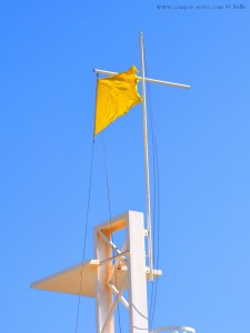 Gelbe Flagge am Playa la Romanilla – Spain