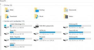 Windows 10 mit allen externen Festplatten und Laufwerken!