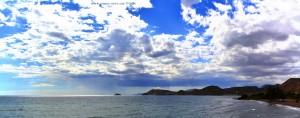 Playa de las Palmeras with View to Isla Negra and Castillo de San Juan de los Terreros – Spain