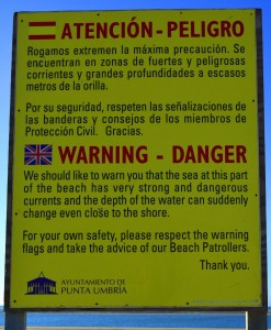 Warning at Dunas de El Portil – Spain