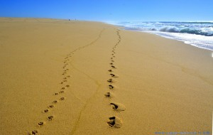 Our Footprints in the Sand of Praia da Costa de Santo André