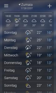 Mein Wetter-App ist da allerdings anderer Meinung!