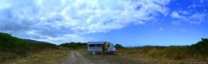 My View today - im Westen blauer Himmel – im Osten Wolken – Praia de Afife - Portugal