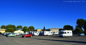 Parking in Area Sosta Camper Pélissanne - Bouches-du-Rhône - Provence-Alpes-Côte d'Azur – France - October 2017