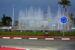 Ankunft in Dénia - Kreisverkehr mit Wasserfontänen – Spain