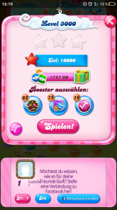 Level 3000 bei CandyCrushSaga! Hehe :P