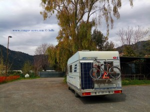 Parking at the Restaurant Pallanca at the SS20 - Valle Roya - Corso Cuneo, 6, 18039 Trucco IM, Italien - April 2018