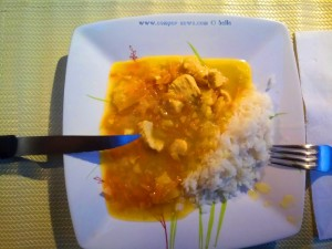 Hühnchencurry mit Ananas und Reis für Dinner - Lago di Pianfei - Italy