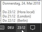 Uhrzeit Athen / Berlin / London im Vergleich