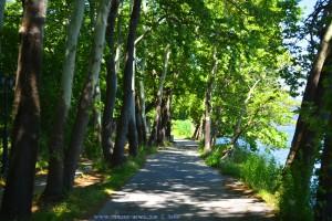 Einbahnstraße rund um die Halbinsel am Limní Kastoriás – Greece