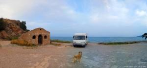 Parking at Paliochano Beach - Epar.Od. Kiveriou - Astrous - Kato Vervena - Pavleika - Voria Kinouria - Greece - October 2018