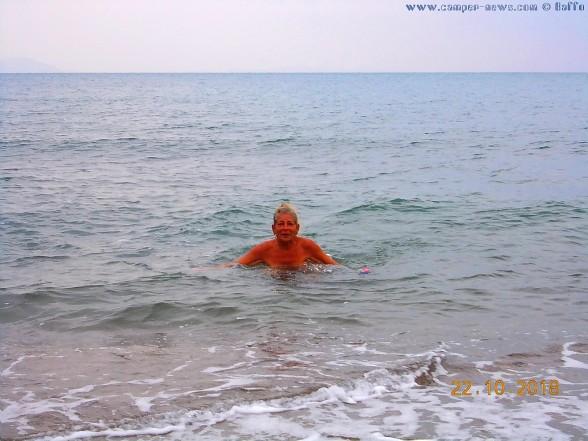 22°C Wassertemperatur - aber nur 20,5°C im Schatten - Paliochano Beach Greece