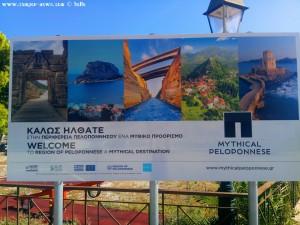 Infotafel über den Kanal von Korinth – Greece