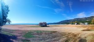 Parking at Salanti Beach - Salanti - Costa Bianca - Ermionida – Greece – October 2018
