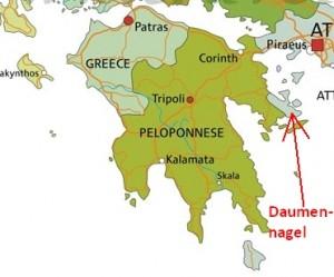 Der Daumennagel ist nicht Peloponnes!