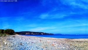 Meine Aussicht von meinem Strandplatz am Kamares Beach – Greece