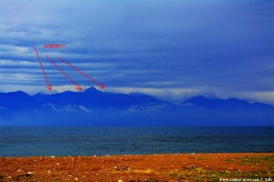 Schnee auf den Gipfeln - Sicht von Petalidi – Greece