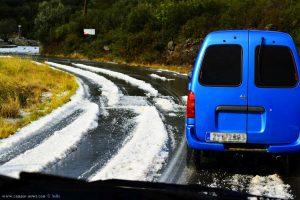 Kurz hinter Kouris – Greece – wegen heftigem Unwetter nur Stop and Go