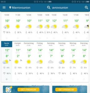 Wetter für die nächsten Tage