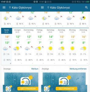 Wetter die nächsten Tage bei uns