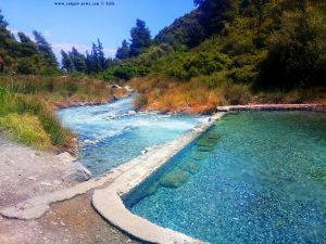 Natural Thermal Pool and wild open H2S waterfall and natural thermal pool - Loutra Thermopilon – Greece