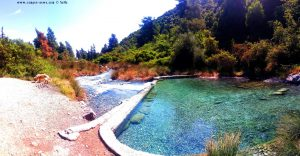 Wild open H2S waterfall and natural thermal pool - Loutra Thermopilon – Greece