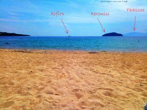 Die beiden Inseln Xifiós und Xeronisi - im Hintergund Thassos - Aussicht von meinem Strandplatz in Néa Iraklítsa – Greece