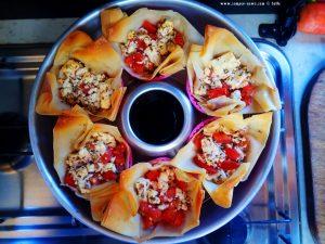 Mediterrane Filo-Päckchen aus dem Omnia zum Lunch - Platja L'Almadrava – Spain