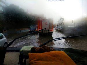 Überschwemmte Strassen auf dem Weg nach Dénia – Spain